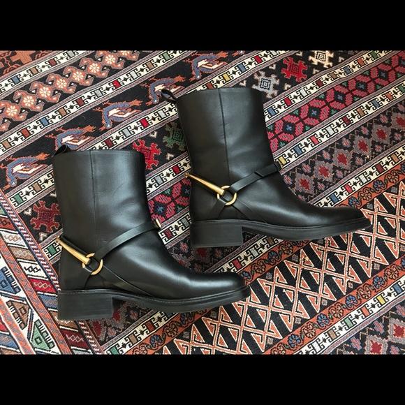 b46153f3e06 Gucci Black Tess Horsebit Ankle Boots